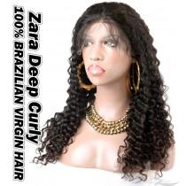 Zara Deep Curl Brazilian Virgin Human Hair HD Lace 360 Lace Wig 150% Density Pre-Plucked Hairline