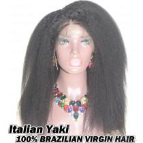 Italian Yaki Brazilian Virgin Human Hair HD Lace 360 Lace Wig 150% Density Pre-Plucked Hairline