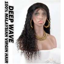 Deep Wave Malaysian Virgin Human Hair HD Lace 360 Lace Wigs 150% Density Pre-Plucked Hairline