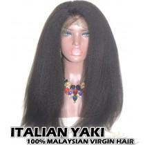 100% Top Grade Quality Malaysian Virgin Hair 360 Lace Wigs Italian Yaki Intact Hair Cuticles Aligned [M360IY]