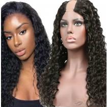 Deep Wave Brazilian Virgin Hair U Part Wigs Human Hair U-PART Wigs Clips In Glueless Wigs Pre Plucked African American Wigs For Black Women No Glue No Sew In  [UWDW]