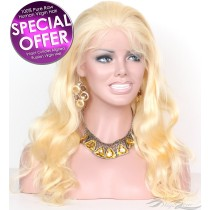 Light Blonde Color #613 Body Wave Russian Virgin Hair Full Lace Wig Pre-Plucked Hairline Super Fine HD Lace Bleached Knots [RF613BW]