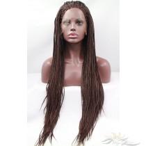 Futura Fiber Brown Braided Box Braid Lace Front Wig Looks & Feels Like Human Hair [SHBB4]