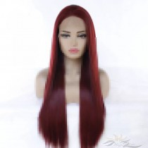 Futura Fiber Wine Red Straight Lace Front Wig Looks & Feels Like Human Hair [SHWR]