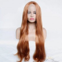 Futura Fiber Middle Part Chestnut Color Natural Straight Lace Front Wig Looks & Feels Like Human Hair [SHMCN]