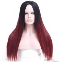 OMBRE COLOR STRAIGHT SYNTHETIC HAIR FULL WEAVE CAP WIG [SW19]