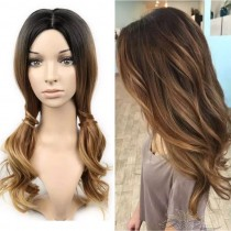 OMBRE COLOR WAVY SYNTHETIC HAIR FULL WEAVE CAP WIG [SW20]