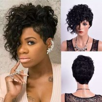 FASHION SHORT CURLY SYNTHETIC HAIR FULL WEAVE CAP WIG [SW21]