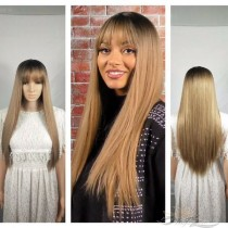 FRONT BANGS LONG STRAIGHT OMBRE SYNTHETIC HAIR FULL WEAVE CAP WIG [SW23]