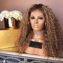 MIXED BROWN BLONDE DEEP CURLY SYNTHETIC HAIR FULL WEAVE CAP WIG [SW29]