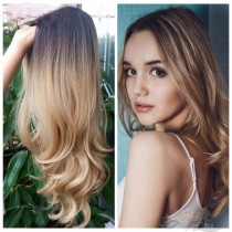 OMBRE BLONDE NATURAL LOOSE BODY CURL SYNTHETIC HAIR FULL WEAVE CAP WIG [SW30]