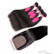 Silky Straight Brazilian Virgin Hair Silk Base Closure + Hair Wefts Bundle Sale [BSWST]