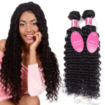 Deep Wave Brazilian Virgin Hair Wefts 2pcs/Lot Human Virgin Hair Weaves 2 Bundles [BRWDW2]