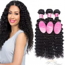 Deep Wave Brazilian Virgin Hair Wefts 3pcs/Lot Human Virgin Hair Weaves 3 Bundles [BRWDW3]