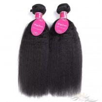 Kinky Straight Brazilian Virgin Hair Wefts 2pcs/Lot Human Virgin Hair Weaves 2 Bundles [BRWKT2]