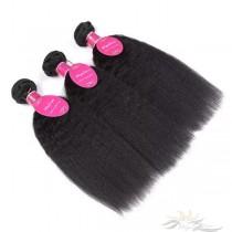 Kinky Straight Brazilian Virgin Hair Wefts 3pcs/Lot Human Virgin Hair Weaves 3 Bundles [BRWKT3]