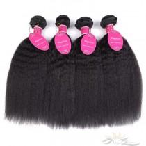 Kinky Straight Brazilian Virgin Hair Wefts 4pcs/Lot Human Virgin Hair Weaves 4 Bundles [BRWKT4]
