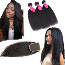 Kinky Straight  Brazilian Virgin Hair Lace Closure + Hair Wefts Bundle Sale [BRBKT]