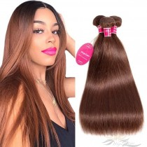 Color #4 Silky Straight Brazilian Virgin Hair Wefts 3pcs/Lot Human Virgin Hair Weaves 3 Bundles [BRW4ST3]
