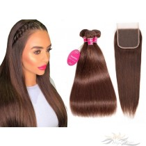 Brazilian Virgin Hair Lace Closure + HAIR WEFTS BUNDLE SALE Color #4 Silky Straight [BRB4ST]