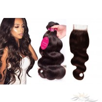Brazilian Virgin Hair Lace Closure + HAIR WEFTS BUNDLE SALE Color #2 Body Wave [BRB2BW]