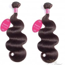 Color #2 Body Wave Brazilian Virgin Hair Wefts 2pcs/Lot Human Virgin Hair Weaves 2 Bundles [BRW#2BW2]
