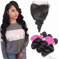 Loose Wave Brazilian Virgin Hair Lace Closure + Hair Wefts Bundle Sale [BRBLW]