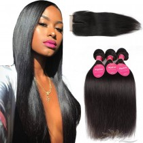 Silky Straight Brazilian Virgin Hair Lace Closure + Hair Wefts Bundle Sale [BRBST]