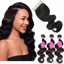 Body Wave Brazilian Virgin Hair Lace Closure + Hair Wefts Bundle Sale [BRBBW]