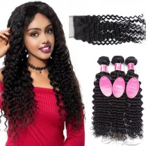 Deep Wave Brazilian Virgin Hair Lace Closure + Hair Wefts Bundle Sale [BRBDW]