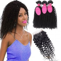 Deep Curl Brazilian Virgin Hair Lace Closure + Hair Wefts Bundle Sale [BRBDC]