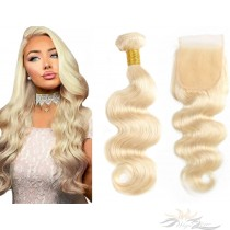 Blonde Color #613 Body Wave Brazilian Virgin Hair Lace Closure + Hair Wefts Bundle Sale  [B613BW]
