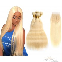 Blonde Color #613 Silky Straight Brazilian Virgin Hair Lace Closure + Hair Wefts Bundle Sale  [B613ST]