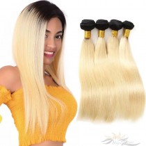 Ombre Color T1B/613 Silky Straight Brazilian Virgin Hair Wefts Human Virgin Hair Weaves  [BRT1B613ST]