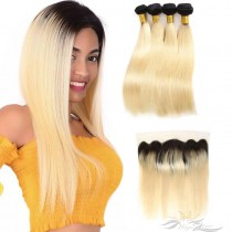 Ombre Blonde Color T1B/613 Silky Straight Human Virgin Hair Lace Frontal + Hair Wefts Bundle Sale [T613LWST]