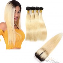 Ombre Blonde Color #613 Silky Straight Brazilian Virgin Hair Lace Closure + Hair Wefts Bundle Sale  [BT613ST]