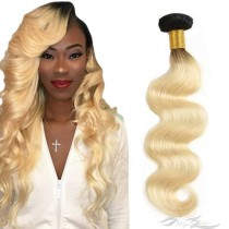 Ombre Color T1B/613 Body Wave Brazilian Virgin Hair Wefts Human Virgin Hair Weaves  [BRT1B613BW]