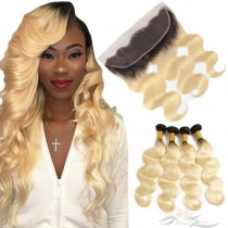 Ombre Blonde Color T1B/613 Body Wave Human Virgin Hair Lace Frontal + Hair Wefts Bundle Sale [T613LWBW]