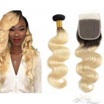 Ombre Blonde Color #613 Body Wave Brazilian Virgin Hair Lace Closure + Hair Wefts Bundle Sale  [BT613BW]
