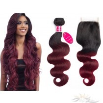 Ombre T1B/99J Two Tone Color Body Wave Hair Brazilian Virgin Hair Lace Closure + HAIR WEFTS BUNDLE SALE [BT99JBW]