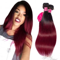 Ombre Color T1B/99J Silky Straight Brazilian Virgin Hair Wefts Human Virgin Hair Weaves  [BRT1B99JST]