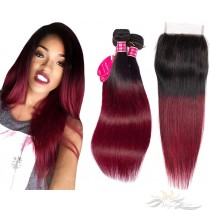 Ombre T1B/99J Two Tone Color Silky Straight Hair Brazilian Virgin Hair Lace Closure + HAIR WEFTS BUNDLE SALE [BT99JST]