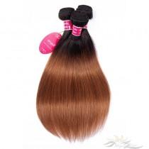 Ombre Color T1B/30 Silky Straight Brazilian Virgin Hair Wefts Human Virgin Hair Weaves  [BRT1B30ST]