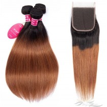Ombre T1B/30 Two Tone Color Straight Hair Brazilian Virgin Hair Lace Closure + HAIR WEFTS BUNDLE SALE [BT1B30ST]