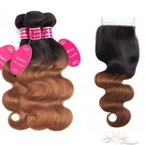 Ombre T1B/30 Two Tone Color Body Wave Brazilian Virgin Hair Lace Closure + HAIR WEFTS BUNDLE SALE [BT1B30BW]
