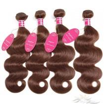 Color #4 Body Wave Brazilian Virgin Hair Wefts 4pcs/Lot Human Virgin Hair Weaves 4 Bundles [BRW4BW4]