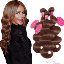 Color #4 Body Wave Brazilian Virgin Hair Wefts 3pcs/Lot Human Virgin Hair Weaves 3 Bundles [BRW4BW3]