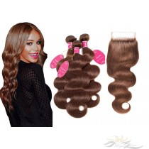 Brazilian Virgin Hair Lace Closure + HAIR WEFTS BUNDLE SALE Color #4 Body Wave [BRB4BW]