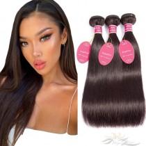 Color #2 Silky Straight Brazilian Virgin Hair Wefts 3pcs/Lot Human Virgin Hair Weaves 3 Bundles [BRW2ST3]