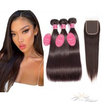 Brazilian Virgin Hair Lace Closure + HAIR WEFTS BUNDLE SALE Color #2 Silky Straight [BRB2ST]